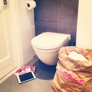 Bathroom Break at www.littlebrookroad.com . Styled and designed with Glamour, iPad,  and big Brown Paper bag by Kolor.