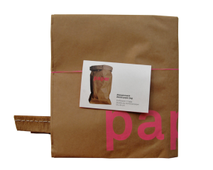 Brown Paper Bag with Pink Neon Letters made by Kolor. Read about it : www.littlebrookroad.com