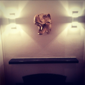Golden T-Rex above Fireplace from White Faux Taxidermy on www.littlebrookroad.com