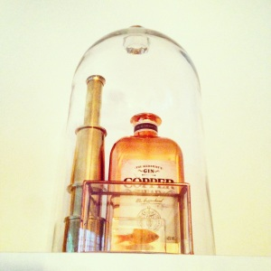Inspiration for interior ideas styling Inspo at www.littlebrookroad.com modern scandinavian blog decor designer design Glass bell with copper gin and fish insects