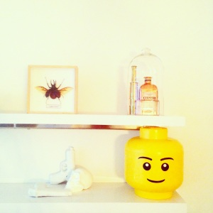 Inspiration for interior ideas styling Inspo at www.littlebrookroad.com modern scandinavian blog decor designer design large beetle framed insect glass bell copper head gin and brass telescope XXL lego head